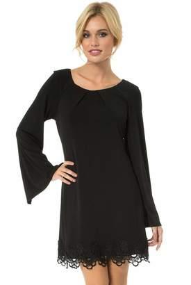 Teeze Me Juniors Long Sleeve A-Line Lace Hem Dress
