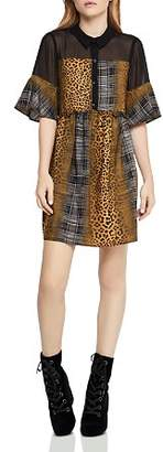 BCBGeneration Plaid-and-Animal-Print Dress