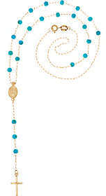 Italian Gold Gemstone Bead Rosary Necklace,14K Gold, 2.1g