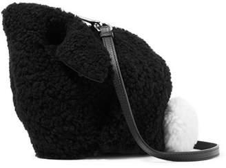 Loewe Bunny Leather-trimmed Shearling Shoulder Bag - Black