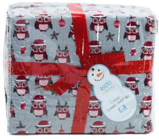 Christmas Owls Flannel Sheet Set