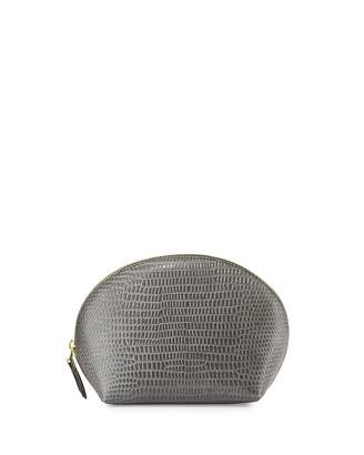 Neiman Marcus Embossed Large Dome Cosmetic Bag, Gray Iguana $35 thestylecure.com