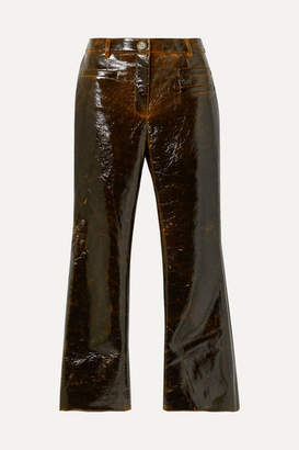 REJINA PYO Maeve Cropped Coated Wool-blend Flared Pants - Brown