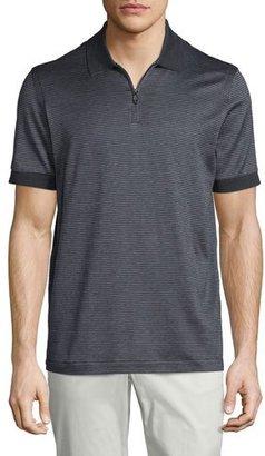 Brioni Micro-Grid Jacquard Quarter-Zip Polo Shirt, Gray/Navy $550 thestylecure.com