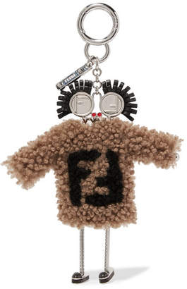 Fendi Shearling And Leather Keychain - Brown