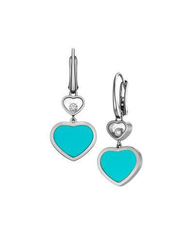Chopard Chopard Happy Hearts 18k Turquoise & Diamond Drop Earrings
