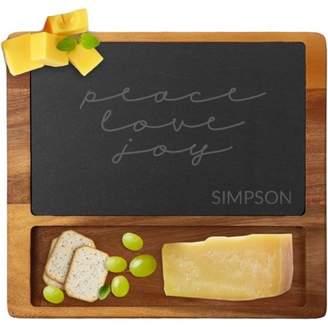 MonogramOnline Peace Love Joy Custom Square Cheese Slate Board