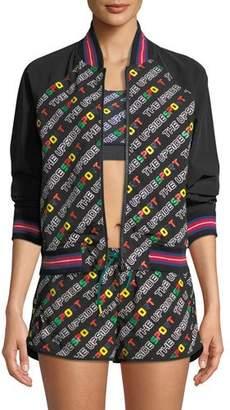 The Upside Zip-Front Logo-Print Sporty Bomber Jacket