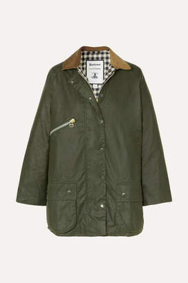 Barbour Alexachung Edith Corduroy-trimmed Waxed-cotton Jacket - Dark green