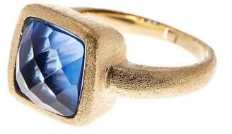 Rivka Friedman 18K Gold Clad Princess Poppy Blue Crystal Satin Ring