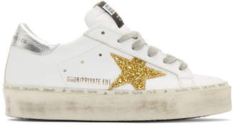 Golden Goose SSENSE Exclusive White and Gold Glitter Hi-Star Sneakers