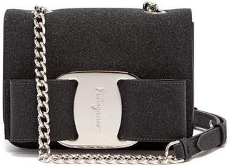 Salvatore Ferragamo Vara Glitter Covered Leather Cross Body Bag - Womens - Black