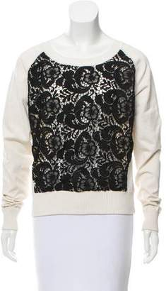 Marchesa Voyage Silk Lace-Paneled Top