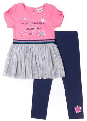 Little Lass Short Sleeve Metallic Pleated Skirt Dress & Leggings, 2-Piece Outfit Set (Baby Girls & Toddler Girls)