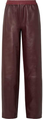 TRE - Floyd Color-block Leather Wide-leg Pants - Burgundy