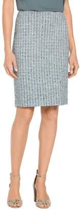 St. John Micro Striped Checked Knit Pencil Skirt