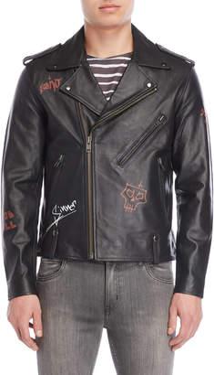 Bolongaro Trevor Black Asymmetrical Leather Jacket