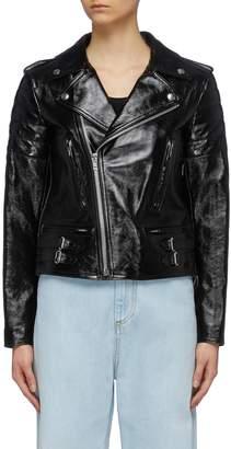 Helmut Lang Patent leather biker jacket
