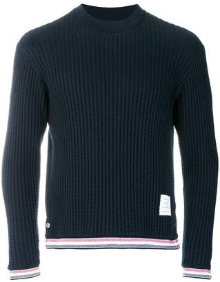 Thom Browne Oxford Stripe Chunky Waffle Knit Crewneck Pullover