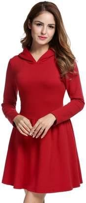 ACEVOG Women's Long Sleeve Sport Hooded Casual Hoodies Dress A-line skirt