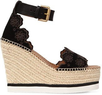 See by Chloe 120mm Glyn Laser Cut Suede Wedges