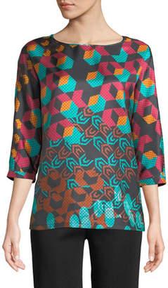 M Missoni 3/4-Sleeve Geometric Silk Top