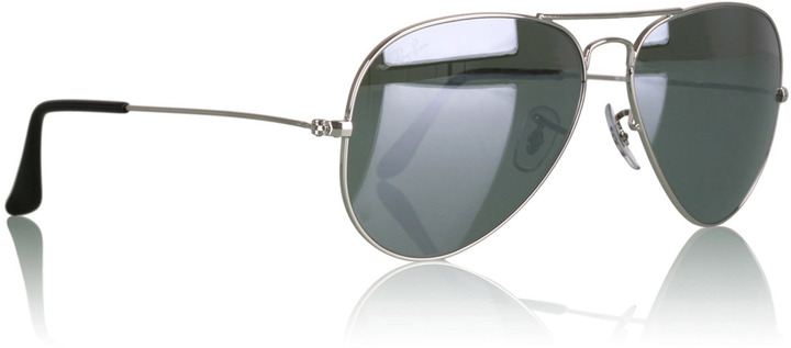 Ray-Ban Mirrored Lens Classic Silver Aviator Sunglasses