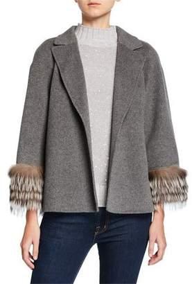 Neiman Marcus Fur-Cuff Open-Front Cashmere Jacket