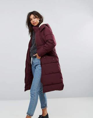 Parka London Long Padded Coat With faux Shearling Hood
