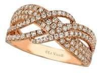 LeVian Le Vian Vanilla Diamonds and 14K Strawberry Gold Wave Ring