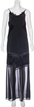 Anine Bing Velvet-Trimmed Maxi Dress