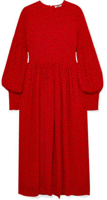 Ganni Smocked Polka-dot Crepe De Chine Midi Dress - Red