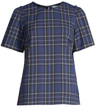 Draper James Plaid Short-Sleeve Top