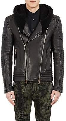 Balmain Men's Leather Hooded Moto Jacket