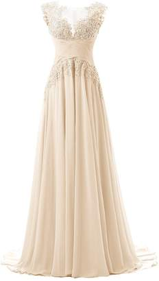 Dresstells® Long Chiffon Prom Dress Bridesmaid Dress Applique Evening Gown Grey