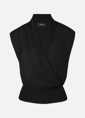 Theory Cropped Wrap-effect Silk-crepe And Ribbed Jersey Top - Black