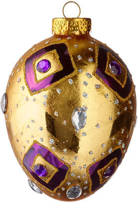 Kurt Adler 1200Mm Glass Egg Ornament Gold & Purple