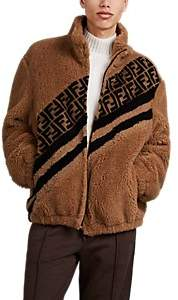 Fendi Men's Logo Faux-Shearling Jacket - Beige, Tan