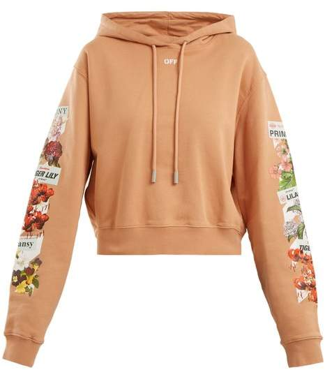 Logo and floral-print cotton cropped sweatshirt