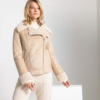 Anne Weyburn Faux Leather Faux Fur Aviator Jacket