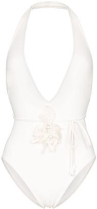 Zimmermann corsage embellished plunge swimsuit