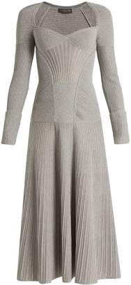 Alexander McQueen Sweetheart-neck long-sleeved wool-blend dress