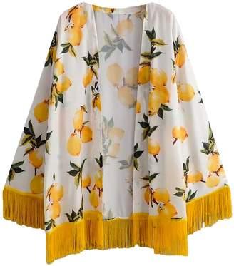 Goodnight Macaroon 'Alana' Lemon Print Tassels Open Wrap Kimono Jacket