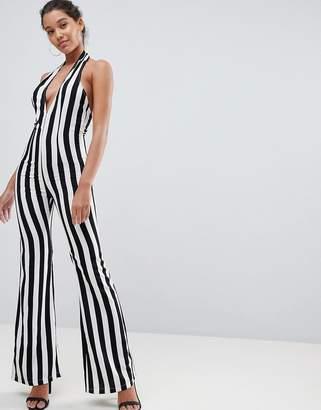PrettyLittleThing Striped Plunge Jumpsuit