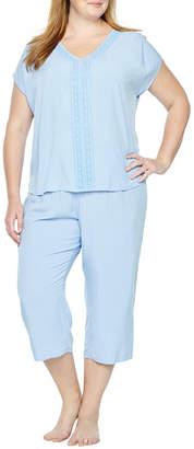 Liz Claiborne Woven Lace Trim Capri Pajama Set - Plus