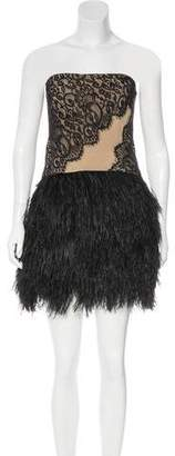Haute Hippie Feather-Trimmed Mini Dress