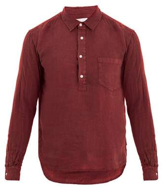 Solid & Striped Popover Half Button Linen Shirt - Mens - Burgundy