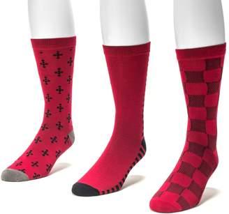 Muk Luks Men's 3-pack Patterned Crew Socks