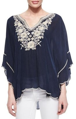 Johnny Was Embroidered Georgette Poncho Tunic $228 thestylecure.com