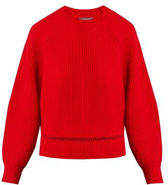 Alexander McQueen Ribbed Wool Blend Sweater - Womens - Red